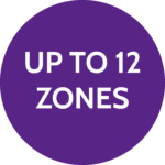 Up to 12 zones