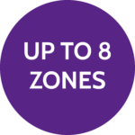 Up to 8 zones